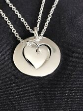 925 Silver Plated Mother & Daughter Two Hearts Cutout Pendant Necklace 2pcs 18""