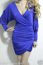 NWT bebe blue purple long sleeve deep v neck shirred ruched top dress XS 0 2
