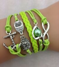 NEW Infinity Owl Heart Anchor Pearl Leather Charm Bracelet plated Silver Q02