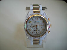 FASHION DESIGNE WHITE WITH GOLD FINISH GENEVA BOYFRIEND WATCH
