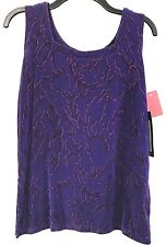NEW A Touch of Class Clothing S / M Acetate Spandex TANK TOP Purple Red Sparkle