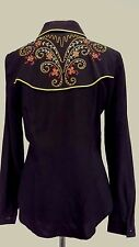Scully Womens Western Shirt Black Embroidered Floral Size S
