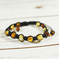 Natural Baltic Amber Bracelet Macramé Handmade Unisex Black Citrus Brown Cognac