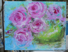 Roses painting Abstract Rose lg canvas pink cabbage roses shabby chic cottage