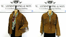 Women's 70's Brown GENUINE SUEDE LEATHER Fringed Boho Hippy Western Jacket UK M