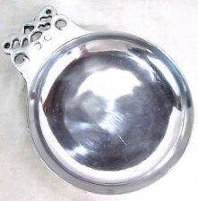 """Alloy Metal Vintage Silver-tone Tarnish Resistant Serving Plate Dish 9""""dia 1.5""""t"""