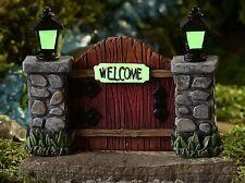 Miniature Fairy Garden Welcome Gate / Door w Pillars Glow-in the-Dark  700367