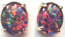 Good Christmas Gift!!! Natual Black Triplet Opal Earring Solid Silver 10x8mm