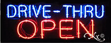 "BRAND NEW ""DRIVE-THRU OPEN"" 32x13x3 REAL NEON SIGN w/CUSTOM OPTIONS 10005"
