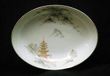 """Old Vintage Kiyomizu Sone China 10"""" Oval Vegetable Bowl Landscape Design Japan"""