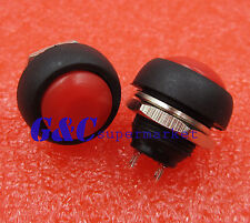2PCS 12mm Waterproof Momentary ON/OFF Push Button Mini Round Switch Red
