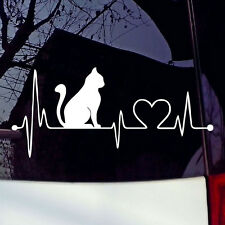 Cat With Cartoon Electrocardiogram Car Laptop Decal Vinyl Sticker For Window