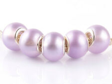 5pcs silver pearl Crystal Violet spacer beads fit Charm European Bracelet #A922