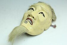 "JAPANESE ANTIQUE MOMOYAMA WOOD CARVING GOFUN ""KOSHIJYO"" OKINA ELDERLY NOH MASK"