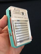 VINTAGE OLD 50s AVIS ANTIQUE BLUE & WHITE JAPANESE TRANSISTOR RADIO , NO CRACKS