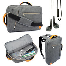 "Gray Backpack Messenger Bag Briefcase for Toshiba Satellite 17.3"" Laptop +Earbud"