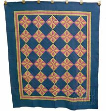 SPLENDID color-drenched Mennonite PUMPKIN SEED pieced antique quilt ca1890s
