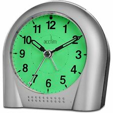 Acctim Smartlite Non Ticking Sweeper Silver Bold Clear Alarm Clock 12257s