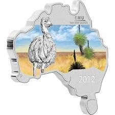 Australia 2012 Australian Map Shaped Coin Series - Emu 1oz Proof Silver Coin