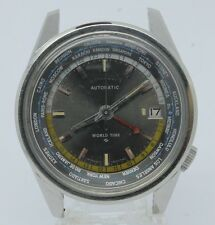 VINTAGE 1969 Seiko World Time Automatic Mens Steel Watch 6117-6010 PARTS REPAIR