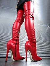 CQ COUTURE EXTREME OVERKNEE BOOT STIEFEL STIVALI STRETCH LEATHER RED ROSSO 39