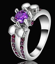 Lady/Women's Skull 14KT White Gold Filled Amethyst Wedding Ring Gift size 7
