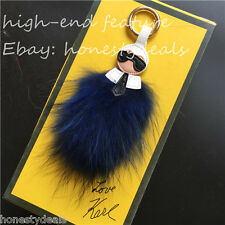 Blue color* Real Raccoon Fur Lafayette monster bag bugs charm keychain key ring