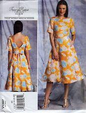 Vogue Designer T Reese Deep V Back Flared Dress Plus Size (14-22) Sewing Pattern