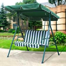 2 Seater Outdoor Patio Garden Swing Cushioned Canopy Furniture Hammock Green