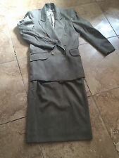 AUSTIN REED stylish solid gray suit skirt and jacket 1-button double breasted 4