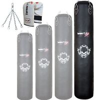 TurnerMAX Punch Bag with Bag mitts & chain Real Leather Black 6ft