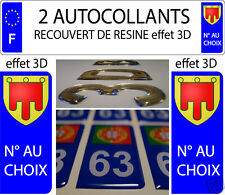 2 sticker plaque immatriculation auto RESINE BLASON ARMOIRIES AUVERGNE