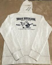 True Religion Mens Classic Logo Zip Hoodie Color Oatmeal Size Large