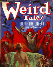Weird Tales Pulp Comic Zombie Bats & Nude Woman Painting 8x10 Canvas Art Print