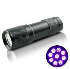 New! Mini UV ULTRA VIOLET 9 LED FLASHLIGHT BLACKLIGHT Torch Light Lamp LOCA