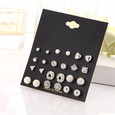 12Pairs Women Girl Fashion Pearl Crystal Heart Stud Triangle Earring Set Jewelry