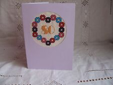 Hand Embroidered Cross Stitch 80th Birthday Card in Purple with Envelope