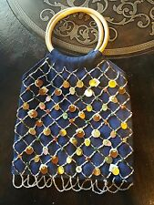 Beaded Jean Handbag Wooden Bamboo Handles Sequins Rocks Gems Blue Denim Purse