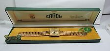 NOS Antique Vintage 1950's GARON Womens Wrist Watch Gold Dial 17j VEGAS Box #103
