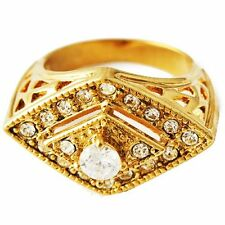 18K Gold Filled clear crystal Womens Wedding Statement Love Ring Size 7