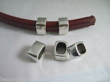 10 Antique Silver 10x7mm Slider Spacers For Licorice Leather