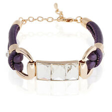 Purple PU Leather & Gold Rhinestones Wrap Crystal Charm Bracelet BB73
