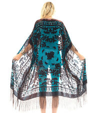 Sheer Silk Burnout Velvet Fringe Hippie Boho Gypsy Teal Brown  Kimono Jacket
