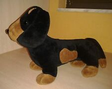 Pooch Parlor Black and brown spotted Dachshund Puppy Dog Plush 11""