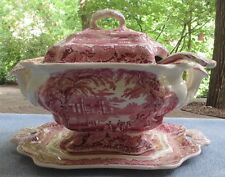 "Great Masons Ironstone Soup Tureen with Underplate and Lid & Ladle ""Vista-Pink"""
