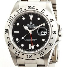 Mens 40mm Rolex SS Stainless Steel Explorer II Date Watch Oyster Black 16570