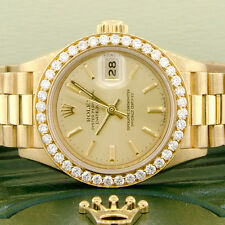 Rolex President Ladies Yellow Gold Original Champagne Dial 26mm w/Diamond Bezel