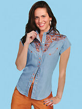 SCULLY Womens EMBROIDERED WESTERN SHORT SLEEVE GUNFIGHTER Shirt - XS - Sky Blue
