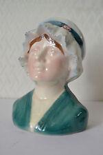 Magnifique Barbotine Tirelire à casser en céramique Buste de Lorraine - Dèb. XXè