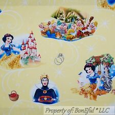 BonEful Fabric Cotton Quilt Snow White PRINCESS Disney Girl 7 Dwarfs FQ NR SCRAP